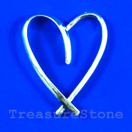 Pendant, silver-finished, 31x40mm heart. Sold individually.
