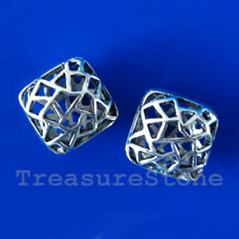 Bead, silver-finished, 14x7mm filigree puffed square. Pkg of 3.