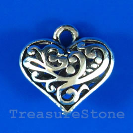 Pendant/charm, silver-finished,17x20mm filigree heart. Each.