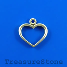 Charm/pendant, silver-plated, 14x17mm heart. Pkg of 12.