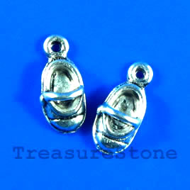 Charm, silver-finished, 7x12mm shoe. Pkg of 6.
