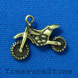 Pendant/charm, brass-finished,15x24mm motorcycle. Pkg of 3.