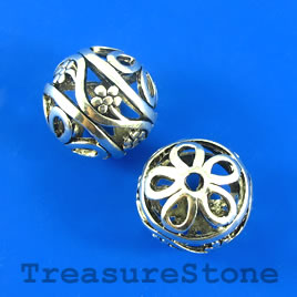 Bead, silver-finished, 24mm round, filigree. Each.