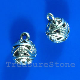 Pendant/charm, silver-finished, 11mm filigree. Pkg of 2.