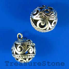 Pendant, 18mm filigree round. Sold individually.