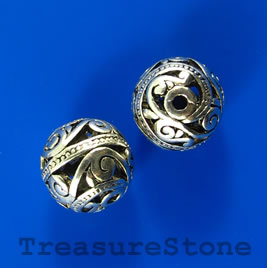 Bead, silver-colored, 14mm filigree ball. Pkg of 2.