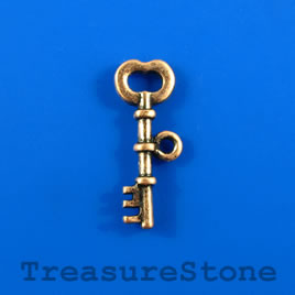 Charm/Pendant, 9x25mm copper-colored key. Pkg of 6.
