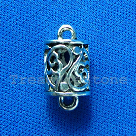 Pendant/charm, silver-finished,10x12mm filigree. Pkg of 2.