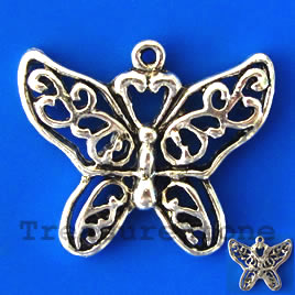 Charm/pendant,silver-plated 23x28mm filigree butterfly. Pkg of 2