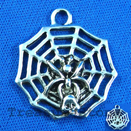 Pendant/charm, 30mm spider with web. Sold individually.