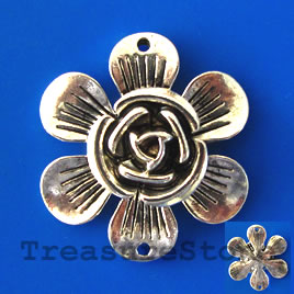Pendant/charm, silver-finished, 32mm flower. Sold individually.
