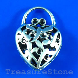 Pendant, 21x30mm filigree heart shape purse. Sold individually.