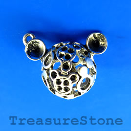 Charm/Pendant, 26x25mm mickey mouse head. Pkg of 2.