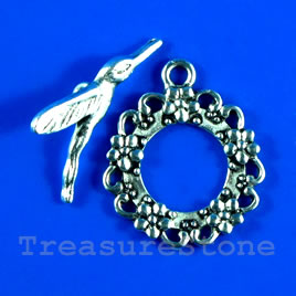 Clasp,toggle,antiqued silver-finished, 25mm. Pkg of 2.