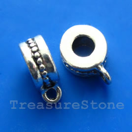 Bead, antiqued silver-finished, 5x10mm tube with loop. Pkg of 8.