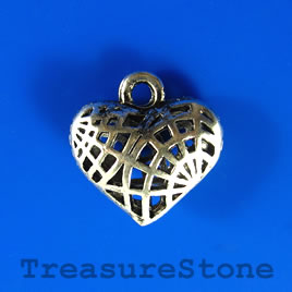 Charm/pendant, 17x20mm filigree heart. Pkg of 3.