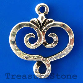 Pendant/charm, silver-finished, 18mm. Pkg of 5.