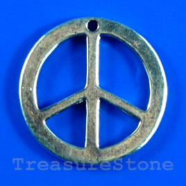 Pendant/charm, 24mm peace symbol. Pkg of 3.
