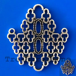 Pendant, antiqued silver-finished, 36x40mm filigree. Each