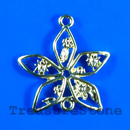 Pendant/charm, gold-finished, 28x25mm flower. Pkg of 4.