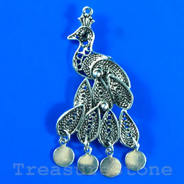 Pendant/charm, 26x50mm peacock. Sold individually.