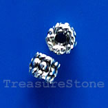 Bead, silver-finished, nickel-free, 4mm tube. Pkg of 25.
