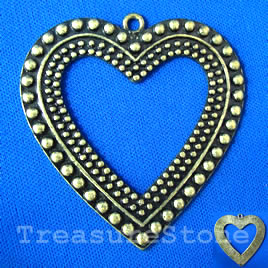 Pendant/charm, brass-finished, 60mm heart. Sold individually.