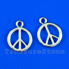 Pendant/charm, 12mm Peace Symbol. Pkg of 8.