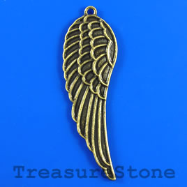 Pendant, brass-colored, 16x50mm angel wing. Pkg of 3.