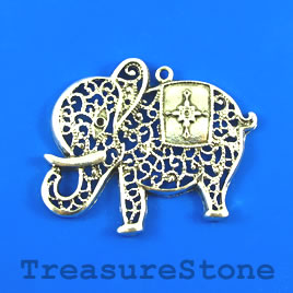Pendant, silver-finished, 47x55mm elephant. Sold individually.