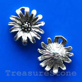 Charm/pendant, silver-plated, 15mm flower. Pkg of 5.