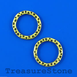 Bead, antiqued brass-finished, 18mm circle. Pkg of 8.