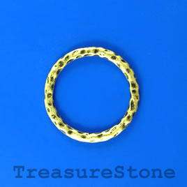 Bead, brass colored, 28mm hammered circle. Pkg of 5.
