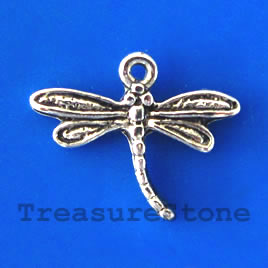 Charm/pendant, silver-plated, dragonfly. Pkg of 18.