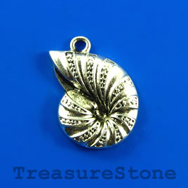 Charm/pendant, silver-plated, 17x23mm shell. Pkg of 6.