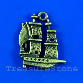 Pendant/charm, brass-finished, 18x20mm boat. Pkg of 5.