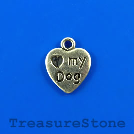 "Charm/pendant, 12mm heart ""Love my dog"". Pkg of 11."
