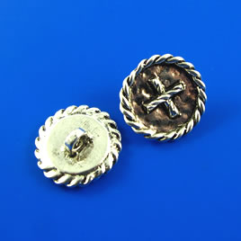 Bead, silver-finished, 20mm button. Pkg of 2.