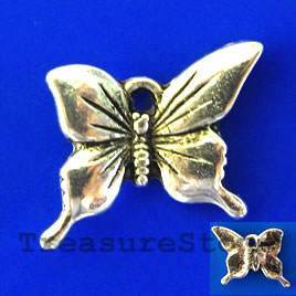Charm/pendant,silver-plated,15x17mm butterfly. Pkg of 8.