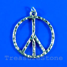 Pendant/charm, 27mm peace symbol. Pkg of 3.