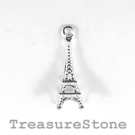 Charm, silver-plated, 21mm Eiffel Tower. Nickel free. Pkg of 5