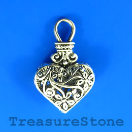 Charm/Pendant, 20x24mm filigree heart. Each.
