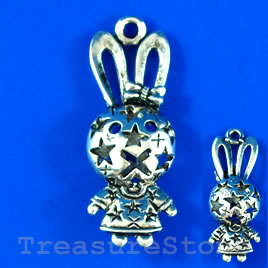 Pendant, silver-finished, 13x48mm filigree bunny. Each.
