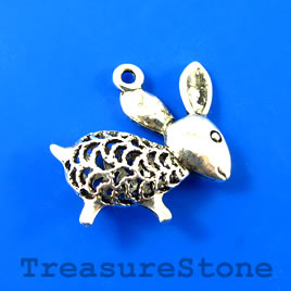 Charm/Pendant, 25x30mm filigree mouse. Pkg of 2.