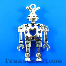 Pendant, silver-finished, 24x42mm robot. Sold individually.