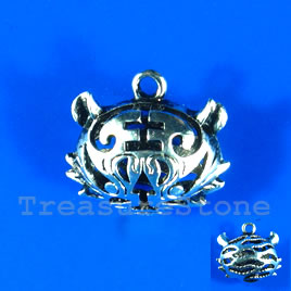 Pendant/charm, silver-finished, 20x24mm filigree tiger. Each.