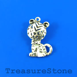 Pendant, silver-finished, 20x31mm filigree baby tiger. Each.