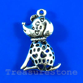 Pendant/charm, silver-finished,17x30mm filigree puppy. Each.