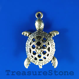 Pendant, 25x38mm filigree turtle. Sold individually.
