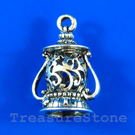 Pendant/charm, silver-finished, 20x27mm filigree lantern. Each.